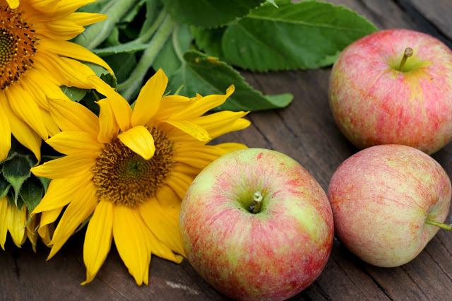solsikker og æbler